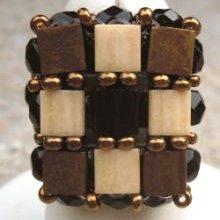 Kit bague carrée Tila Noir doré
