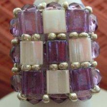 Kit bague carrée Tila Violet & Ecru