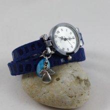 Montre bracelet suédine bleu 2 tours cadran argenté