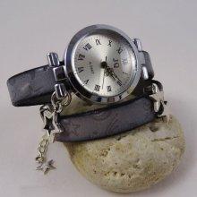 Montre bracelet double cuir Constellations