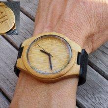 Montre homme bois clair sur bracelet cuir Noir à graver