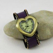 Montre coeur bracelet cuir violet