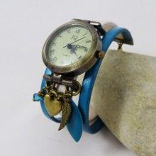 Montre bracelet manchette cuir turquoise Coeur