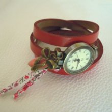 Montre cuir 3 tours Rouge Liberty
