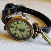 Montre bracelet cuir noir Plume et perle