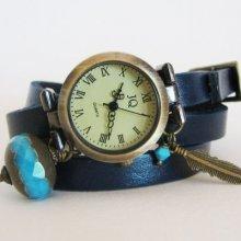 Montre 3 tours cuir bleu grosse perle turquoise