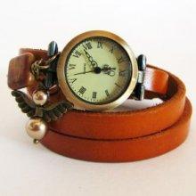 Montre Ange  bracelet triple cuir caramel