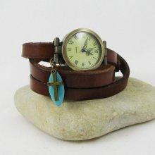 Montre bracelet cuir Croix et sequin