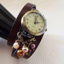 Montre bracelet 3 tours  cuir Marron  perles nacrées