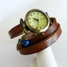 Montre bracelet cuir breloques plume perles bleues