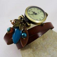 Montre bracelet cuir breloques Turquoise