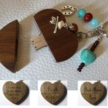 Porte-clé Coeur clé usb à graver perles turquoises