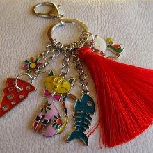 Porte-clé pendentifs Chat & souris pompon rouge