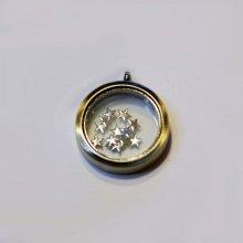 Médaillon boîte vitrée Bronze doré 30 mm pendentif à trésor
