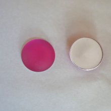 Cabochon Luna Soft rose fuchsia  diamètre 18mm