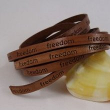 Lacet cuir 6 mm Marron 'freedom'  par 20 cm
