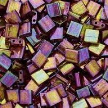 Miyuki Tila 5mm Dk Topaz Rainbow Gold x 25