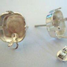 Clous d'oreille cabochon carre 12mm argenté