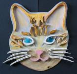 Déco en bois tête de chat