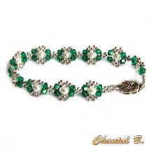 bracelet swarovski vert emeraude et perles nacrées tissées cristal et argent