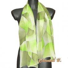 écharpe foulard soirée soie peint main dégradé de verts Gaia