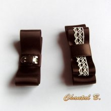 clips chaussures mariage dentelle vintage ivoire noeud satin chocolat