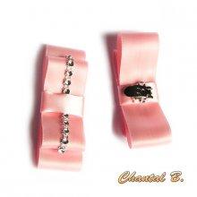 clips chaussures mariage noeud satin mariée saumon et argent