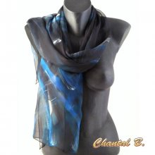 Foulard écharpe mousseline de soie turquoise argent et noir