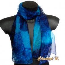 long foulard écharpe mousseline de soie dégradé bleu et marine peint main 180CM