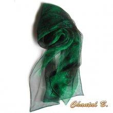 long foulard écharpe mousseline de soie dégradé vert sapin peint main 180CM