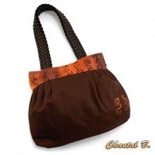 sac à main toile coton chocolat et soie peinte orangée Suki anses tressées