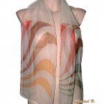foulard écharpe mousseline de soie vert amande corail marron