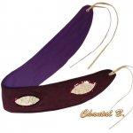 Ceinture large suédine violet violine et soie peinte doublée tissu coton à nouer
