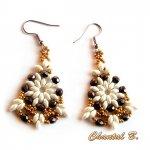 boucles d'oreilles perles cristal boheme bronze et or