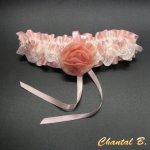 jarretière mariage lingerie romantique créateur satin rose poudré dentelle ivoire Rachel ivoire fleur mousseline de soie