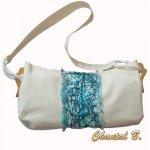 sac à main coton écrue et soie turquoise peinte à la main