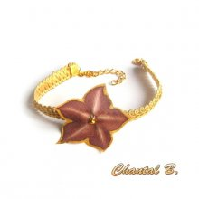 Bracelet dentelle guipure dorée et sa fleur soie chocolat