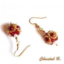 Boucles d'oreilles forme boule swarovski bordeaux opale et or