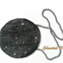 pochette ronde fantaisie satin noir anse perles grises