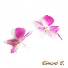 puces d'oreilles orchidée de soie mariage
