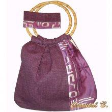 Sac cabas bandoulière et pochette violet motif bambou soie et coton
