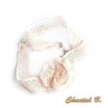 bandeau cheveux dentelle rose poudré accessoire mariage headband  romantique