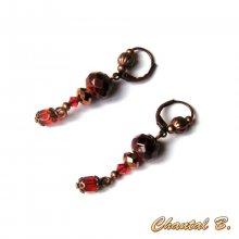 boucles d'oreilles dormeuses bronze perles facettées verre cuivré et perles swarovski orange
