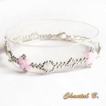 bracelet swarovski perles tissées swarovski rose AB boheme cristal et argent romantique mariage