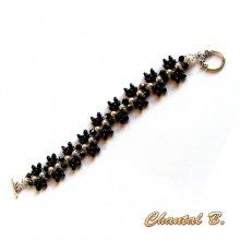 bracelet soirée perles swarovski blanches perles verre noir