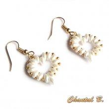 boucles d'oreilles st valentin mariage coeur perles nacrées et or soirée plaqué or