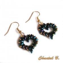 boucles d'oreilles coeur perles bleu nuit et or soirée mariage