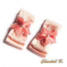 clips chaussures mariage noeud satin dentelle et fleur de soie rose saumon