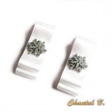 clips chaussures mariage noeud satin blanc et flocon de neige argent accessoire cérémonie  thème hiver