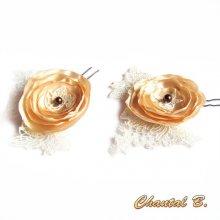 lot de 2 pics fleur à chignon épingles à cheveux mariage fleur de satin sur dentelle ivoire perle chocolat